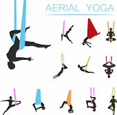 Aerial Yoga Set With Young Woman In Different Yoga Poses Girl Doing