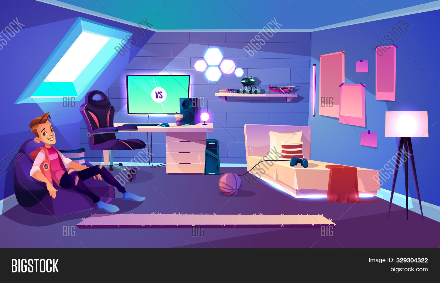 armchair,attic,background,ball,bed,blogger,boy,cartoon,chair,comfort,computer,concept,console,cozy,cyber,cybersport,desk,enthusiast,esport,fan,furniture,game,gamepad,gamer,gaming,illustration,indoors,interior,lamp,male,monitor,night,pc,placard,pro,rest,roof,room,screen,shelf,sit,sportsman,streamer,table,teen,teenager,toy,tv,window