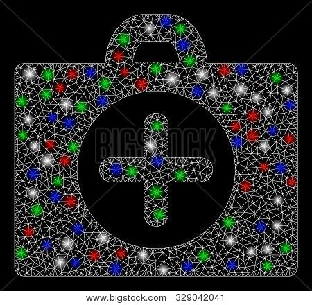 Bright mesh first aid with glare effect. White wire carcass triangular mesh in vector format on a black background. Abstract 2d mesh designed with triangles, points, colorful flash spots. stock photo
