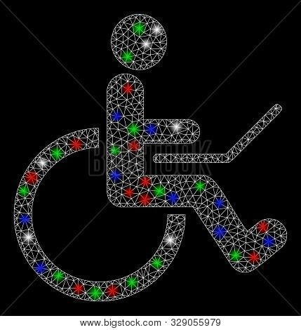 Bright mesh wheelchair with glare effect. White wire frame polygonal mesh in vector format on a black background. Abstract 2d mesh designed with triangles, dots, colored flash spots. stock photo