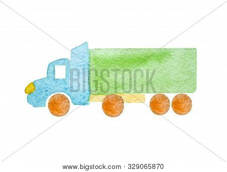 Watercolor blue semi-trailer truck as a tractor unit and semi-trailer to carry freight in white background isolated with green body.Naive art stock photo