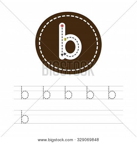 Learning to write a small letter - b. A practical sheet from a set of exercises for the development and education of children. Spelling a letter from the English alphabet. Vector illustration. stock photo