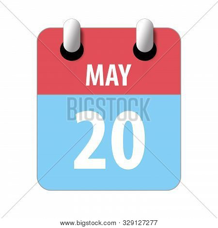 may 20th. Day 20 of month, Simple calendar icon on white background. Planning. Time management. Set of calendar icons for web design. spring month, day of the year concept stock photo