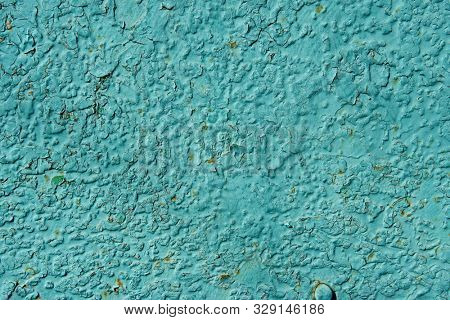 Old rusty and scratched surface of iron - grunge green texture or background, metal with scratches stock photo