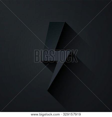 Paper cut Lightning bolt icon isolated on black background. Flash icon. Charge flash icon. Thunder bolt. Lighting strike. Paper art style. Vector Illustration stock photo
