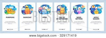 Mobile app onboarding screens. Autumn season, raincoat, fall wind, halloween pumpkins, wool clothes, cold weather. Vector banner template for website and mobile development. Web site flat illustration stock photo