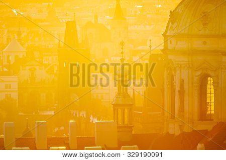 Lesser Town (UNESCO), Prague, Czech republic in the sunny misty morning stock photo