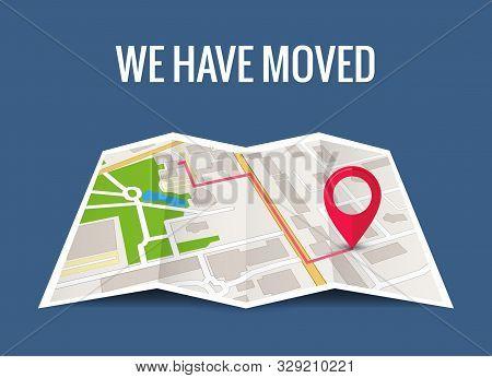 We have moved new office icon location. Address move change location announcement business home map stock photo