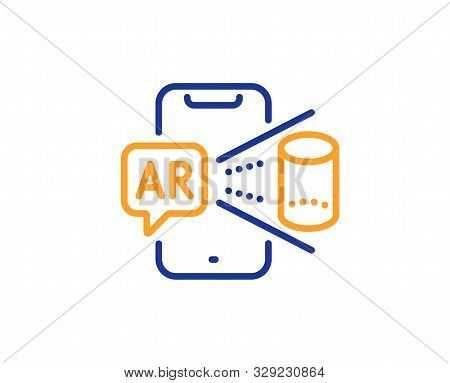 VR simulation sign. Augmented reality phone line icon. 3d view symbol. Colorful outline concept. Blue and orange thin line augmented reality icon. Vector stock photo