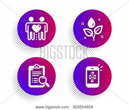 Friends couple, Search analysis and Plants watering icons simple set. Halftone dots button. Mail sign. Friendship, Find survey, Water drop. Smartphone communication. Business set. Vector stock photo