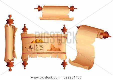 Ancient Egypt Papyrus Scroll Cartoon Vector Set, Blank And With Hieroglyphs And Egyptian Culture Rel