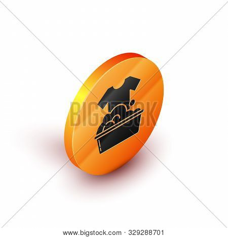 Isometric Plastic basin with soap suds icon isolated on white background. Bowl with water. Washing clothes, cleaning equipment. Orange circle button. Vector Illustration stock photo