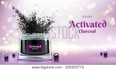 Cosmetics product with activated charcoal 3d realistic advertising banner, promo poster. Opened jar with tooth powder, face cream, detox mask, black pearls on glass surface illustration stock photo