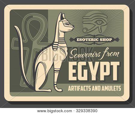 Vector Egypt Pharaoh cat deity, Horus eye and Ankh hieroglyph symbol. Ancient Egypt vintage retro poster, egyptian souvenirs, amulets and esoteric rarities shop stock photo