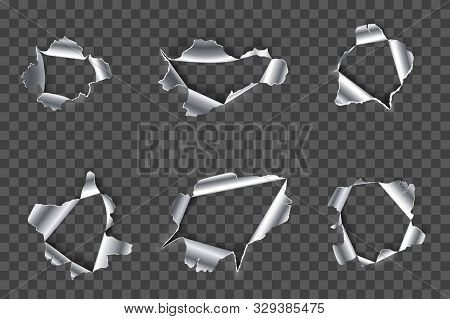 Hole In Metal. Ripped Steel, Ragged Metals Holes And Crack In Metallic Material Realistic 3d Vector