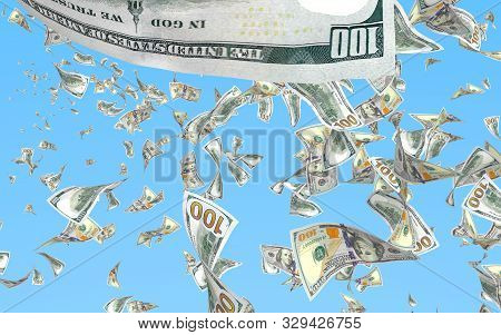 Flying dollars banknotes isolated on a blue background. Money is flying in the air. 100 US banknotes new sample. 3D illustration stock photo