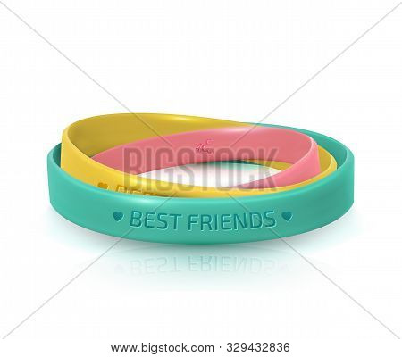 Rubber bracelets for best friends. Friendship Day greeting card, happy holiday of amity. Three multicolored silicone wristbands on white background. Vector illustration stock photo