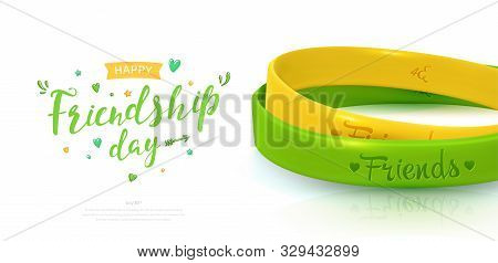 Friendship Day poster, happy holiday of amity. Two rubber bracelets for best friends yellow and green. Silicone wristbands and inscription of congratulations on white background. Vector illustration stock photo