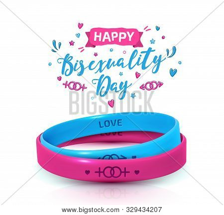 Day of bisexuality and International Day for Tolerance poster. LGBT Pride concept. Pink and blue rubber bracelets for homosexual people. Silicone wristbands with symbols of gender: Lesbian and Gay stock photo