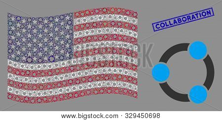 Cooperation items are organized into United States flag abstraction with blue rectangle rubber stamp seal of Collaboration phrase. stock photo