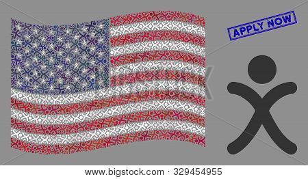 X generation boy icons are organized into American flag abstraction with blue rectangle rubber stamp watermark of Apply Now caption. stock photo