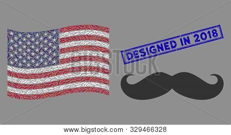 Gentleman moustache icons are combined into United States flag abstraction with blue rectangle distressed stamp seal of Designed in 2018 text. stock photo