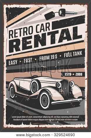 Retro vehicle rental service, old vintage cars advertising poster. Vector rarity vehicle vip luxury limousines and classic oldtimer cabriolet car rental company stock photo