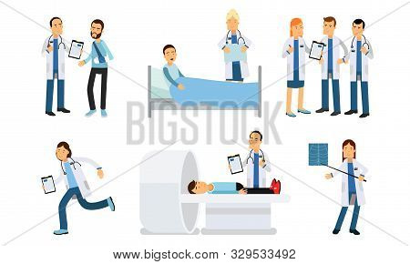 Medical Staff And Patients In Different Situations At Hospital Vector Illustration Set Isolated On White Background stock photo