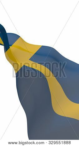 The flag of Sweden. Official state symbol of the Kingdom of Sweden. A blue field with a yellow Scandinavian cross that extends to the edges of the flag. 3d illustration stock photo