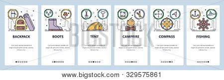 Mobile app onboarding screens. Outdoor travel, camping, tent, campfire, backpack. Menu vector banner template for website and mobile development. Web site design flat illustration stock photo