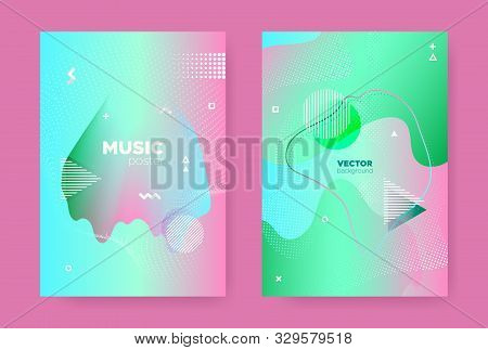 Modern Memphis Geometric Background. Contemporary Effect. Pink Wave Gradient Shape. Graphic Pastel Wavy Covers. Abstract Geometric Elements. Fluid Gradient Shapes. Abstract Geometric Background. stock photo