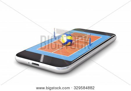volleyball court is located on the smartphone. 3d illustration stock photo