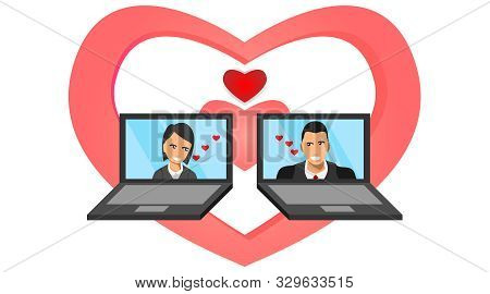 Male And Female Appear On The Laptop Screen With The Symbol Of Love. Social Media Between Laptops. A