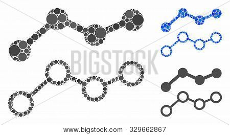 Trends composition of small circles in variable sizes and color tinges, based on trends icon. Vector random circles are combined into blue composition. Dotted trends icon in usual and blue versions. stock photo