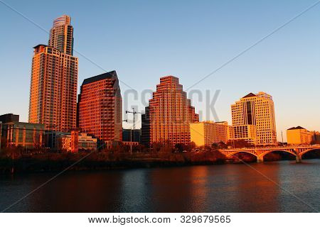 Downtown Austin illuminated by the sun in Texas stock photo