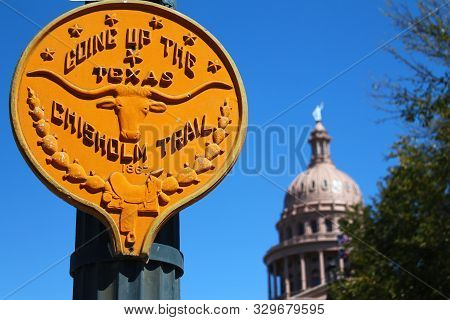 Going up the Texas Chisholm trail sign stock photo