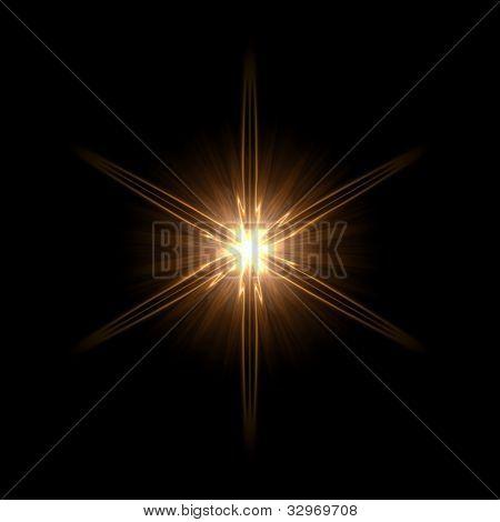 abstract lens flare light hexagram over dark background stock photo