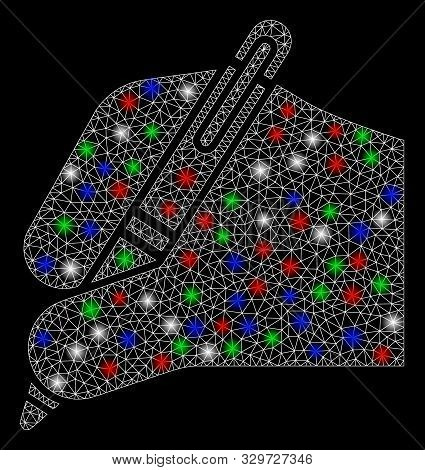 Bright mesh signature with glow effect. White wire carcass polygonal mesh in vector format on a black background. Abstract 2d mesh designed with polygonal grid, spheric points, colorful flare spots. stock photo