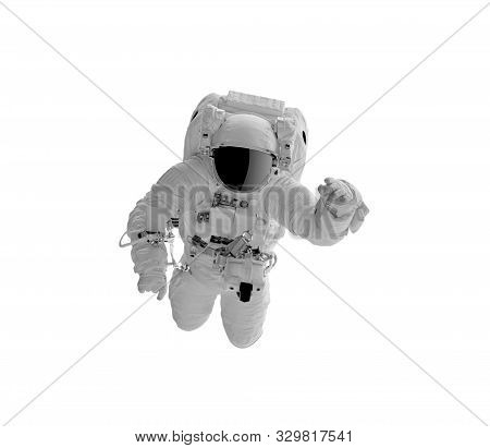 Astronaft in a spacesuit isolated on white background. stock photo