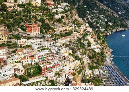 The beautiful village of Positano on the Italian Amalfi Coast stock photo