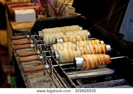 Trdelnik are a typical spit cake of Central Europe and of the Prague city stock photo