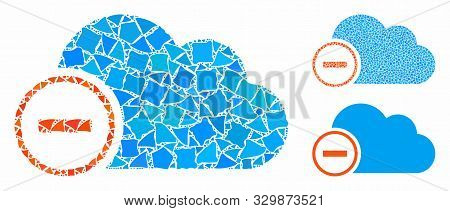 Remove composition of bumpy elements in different sizes and color tones, based on remove icon. Vector abrupt elements are composed into collage. Remove icons collage with dotted pattern. stock photo