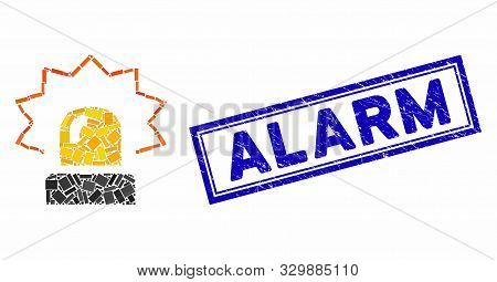 Mosaic alarm and rubber stamp seal with Alarm text. Mosaic vector alarm is formed with scattered rectangles. Alarm stamp seal uses blue color. stock photo