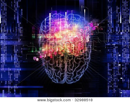 Backdrop on the subject of intelligence consciousness logical thinking mental processes and brain power composed of head outlines lights and abstract design elements stock photo