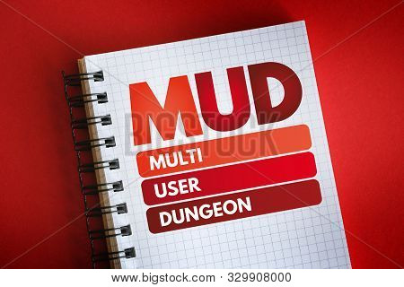 MUD - Multi User Dungeon acronym, technology concept background stock photo