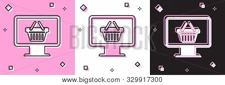 Set Computer monitor with shopping basket icon isolated on pink and white, black background. Online Shopping cart. Supermarket basket symbol. Vector Illustration stock photo