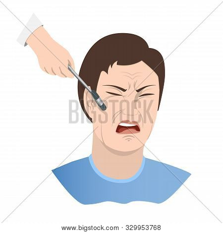 Symptom of meningitis. Cheekbone Syndrome Bekhterev. A face distorted by pain, a neurologist s hand with an instrument tapping the patient s cheekbone. Vector illustration stock photo
