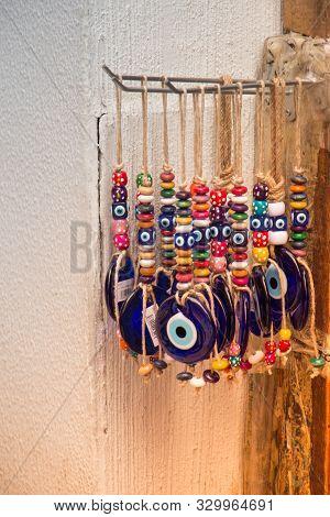 Evil eye beads as Amulet souvenir from Turkey stock photo
