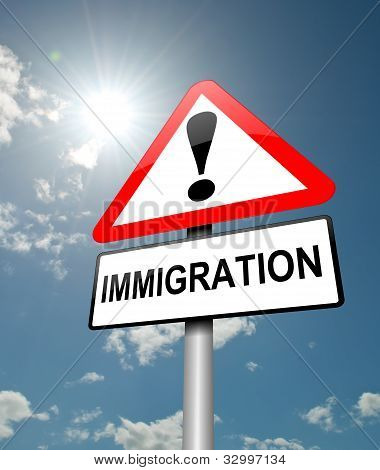 Illustration depicting a red and white triangular warning sign with a immigration' concept. Blue sky background. stock photo