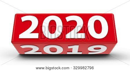 Red cube (cuboid) with 2019-2020 change on a white table represents the new 2020, three-dimensional rendering, 3D illustration stock photo